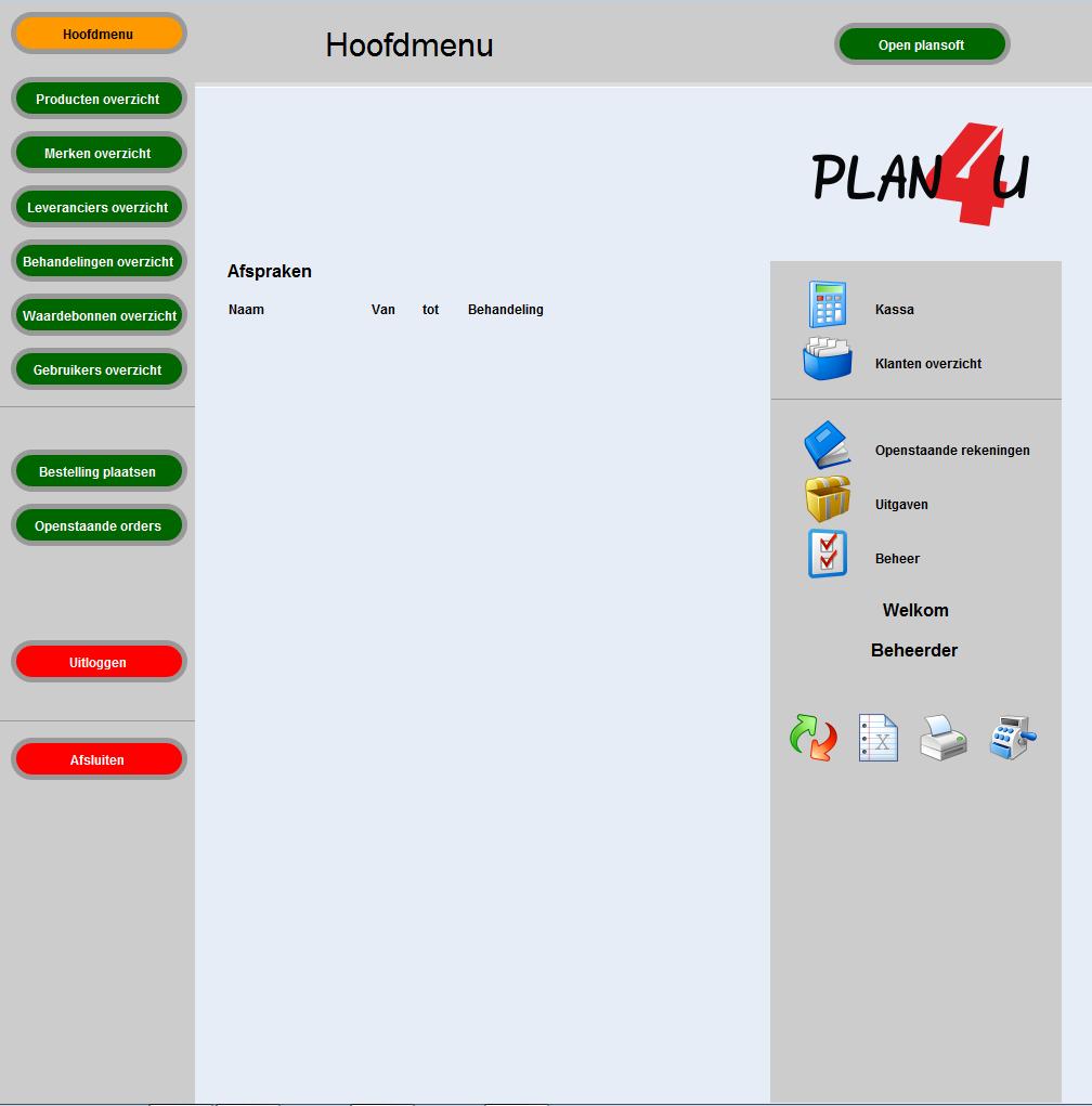Hoofdmenu PLAN4U kassa & salon systeem